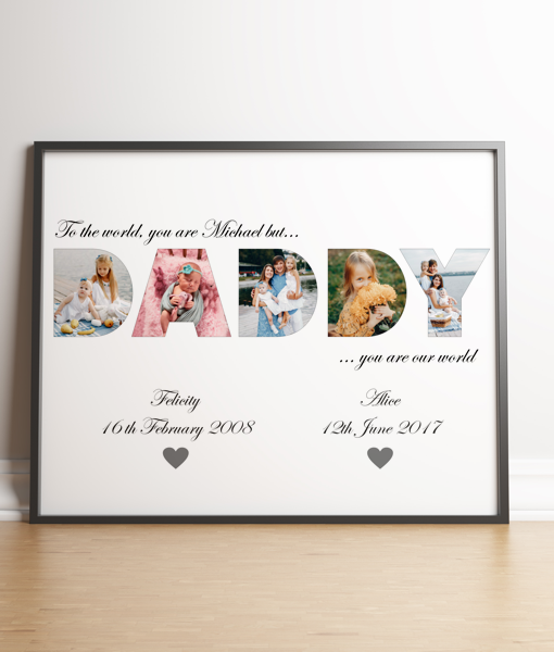 DADDY Photo Word Art Gift Fathers Day Gifts