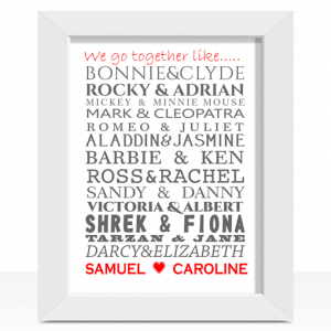 Famous Couples Word Art Print Engagement Gifts