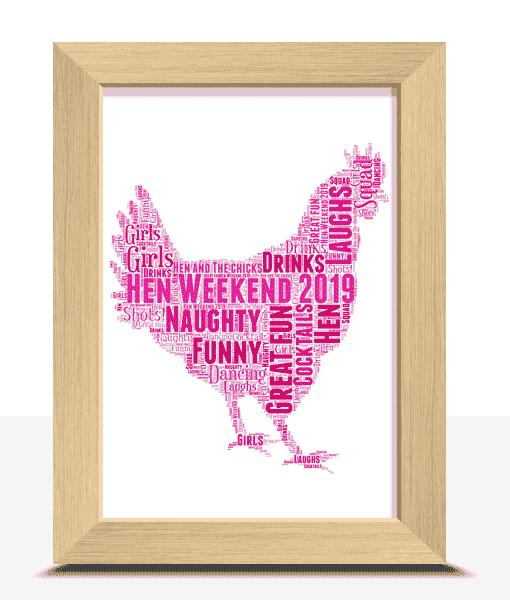 Personalised Hen Night Word Art Gift Animal Prints