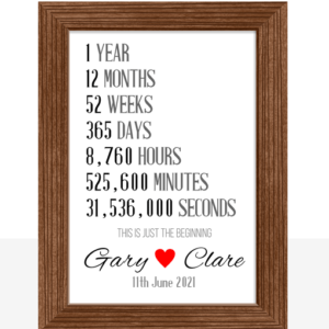 Personalised First Year Anniversary Gift Anniversary Gifts