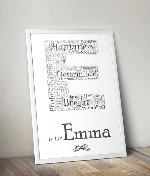 Personalised Letter – Name Initial Word Art Print Baby Shower Gifts