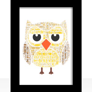 Personalised Owl Word Art Gift Animal Prints