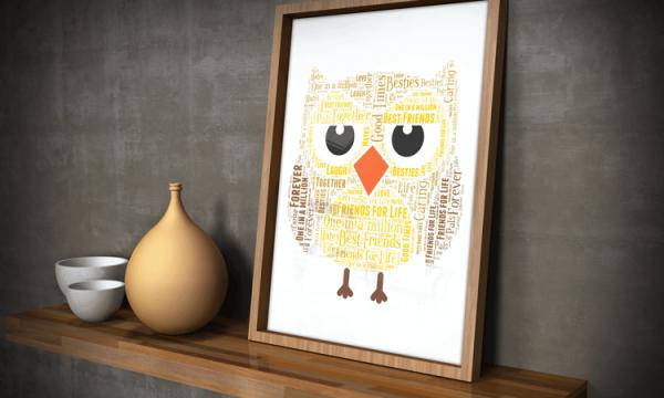 Personalised Owl Word Art Gift Animal Prints