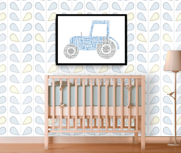Personalised Tractor Word Art Print Christening Gifts