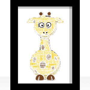 Personalised Giraffe Word Art Print Animal Prints