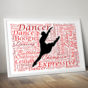 Personalised Dancer Word Art Gift Dance