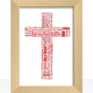 Cross Shape Word Art Christening Gifts