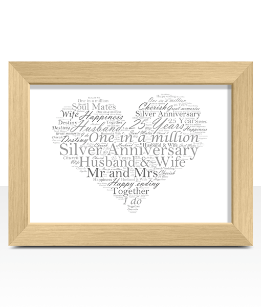 Silver Wedding 25th Anniversary Word Art Gift Anniversary Gifts