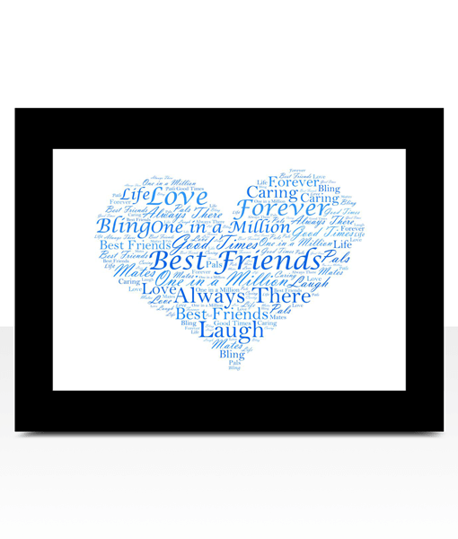 Personalised Love Heart Word Art Print Engagement Gifts