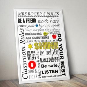 Personalised Teachers Rules Print – Teacher Gift Teacher Gifts