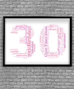 30th Birthday - Anniversary Word Art Gift