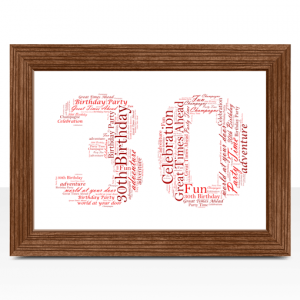 30th Birthday – Anniversary Word Art Gift Anniversary Gifts