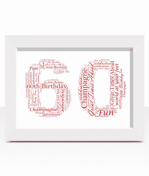 60th Birthday – Anniversary Word Art Gift Anniversary Gifts