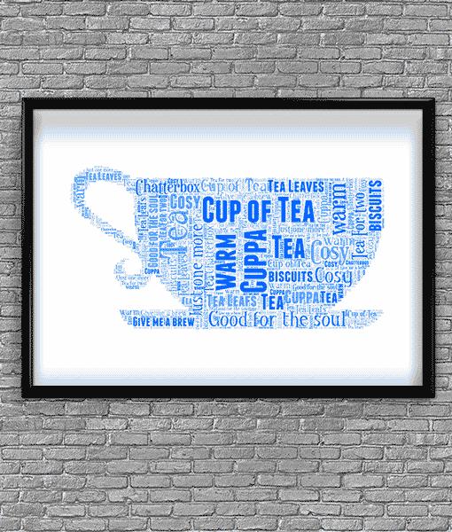 Tea Cup Shape Word Art Food And Drink