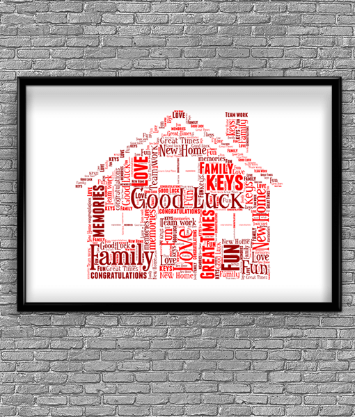 House Word Art – Personalised House Warming Gift Family