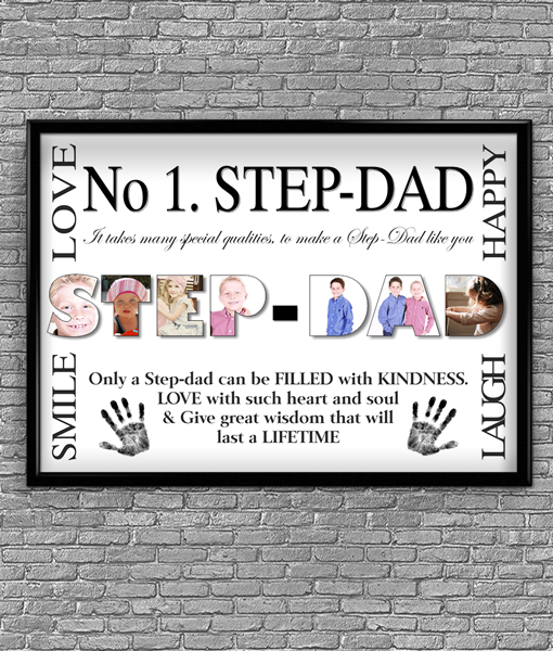 No 1 STEP DAD Personalised Photo Gift Fathers Day Gifts