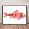 Fish Shape Word Art Print Animal Prints