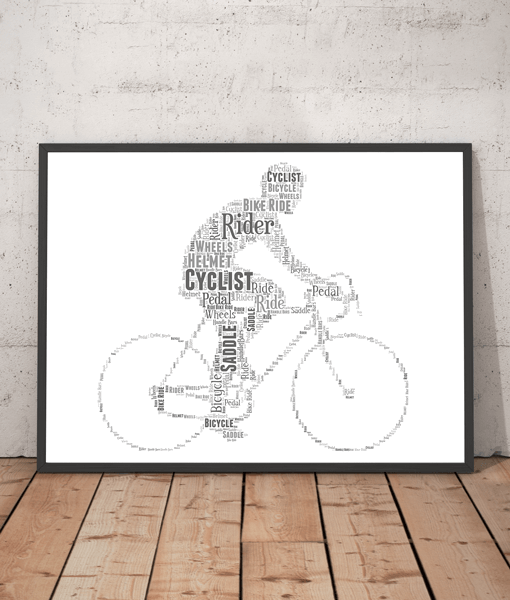 Personalised Cycling Bike Rider Word Art Gift Gifts For Him