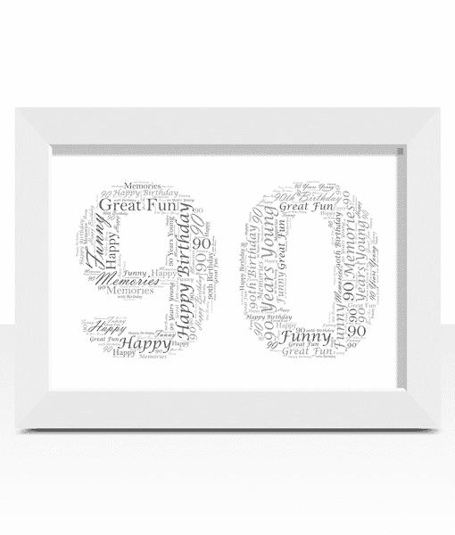 Personalised 90th Birthday Word Art Gift Birthday Gifts