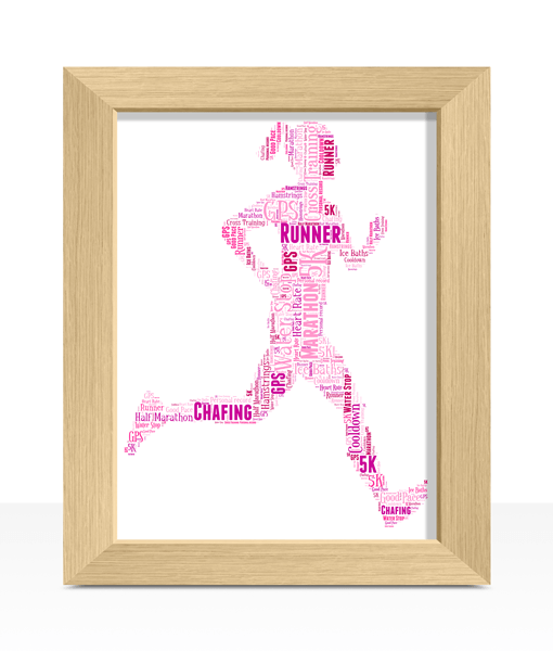 Female Runner Word Art Print Gifts For Her
