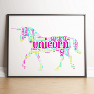 Personalised Unicorn Word Art Animal Prints