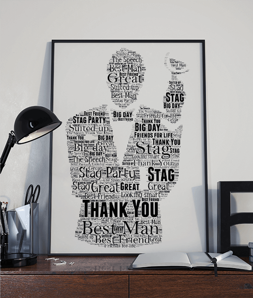 Personalised Best Man Gift – Wedding Word Art Gifts For Him
