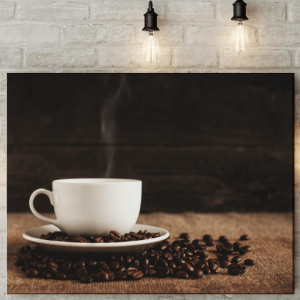 Steaming Coffee Cup Picture Canvas Kitchen