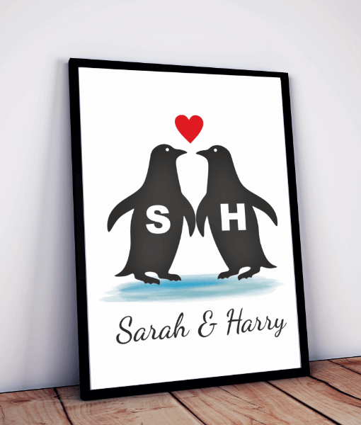 Personalised Love Penguins Print Anniversary Gifts