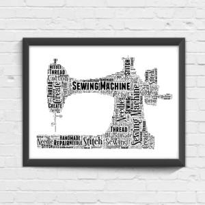 Sewing Machine Word Art Print