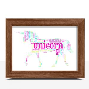 Personalised Unicorn Word Art Animal Prints