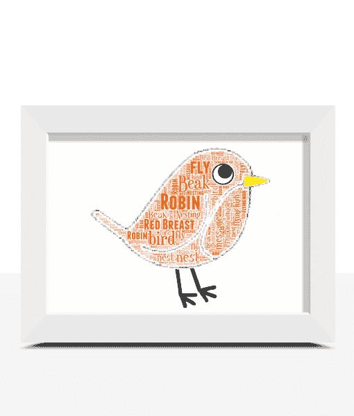 Personalised Robin Word Art Christmas Gift Animal Prints