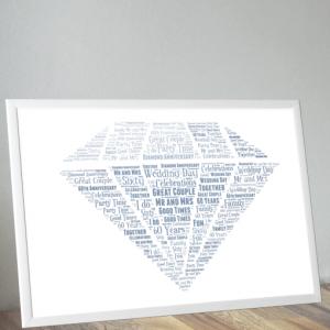 Diamond Wedding 60th Anniversary Word Art Gift Anniversary Gifts
