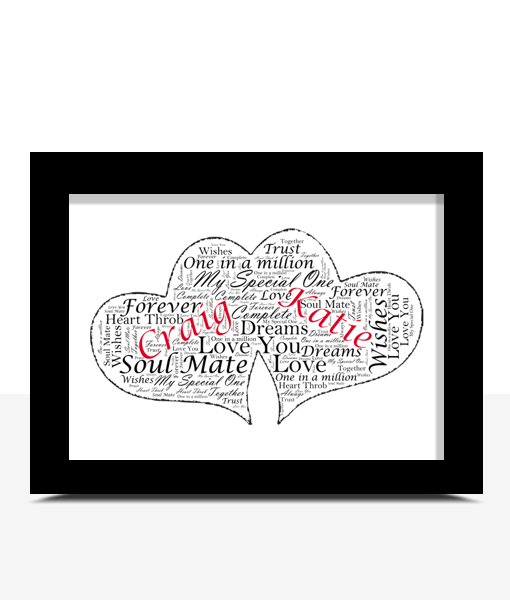 Personalised Twin Hearts Word Art Gift Engagement Gifts