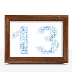 Personalised 13th Birthday Word Art Gift Birthday Gifts