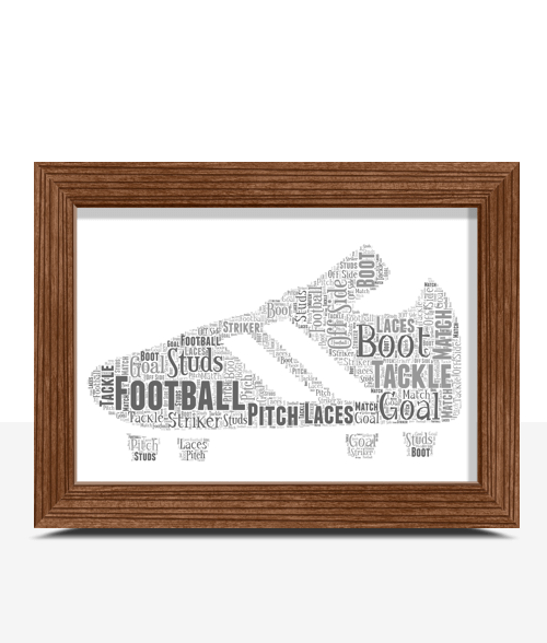 Football Boot Word Art Print Fathers Day Gifts