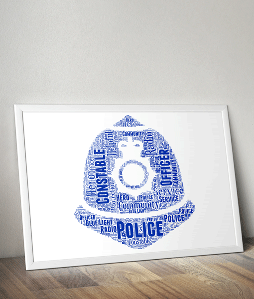 Policeman Helmet Word Art Print Gifts For Him