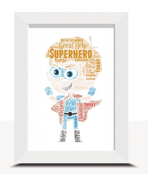 Super Hero Boy Word Art Print