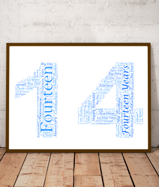 Personalised 14th Birthday Word Art Gift Birthday Gifts