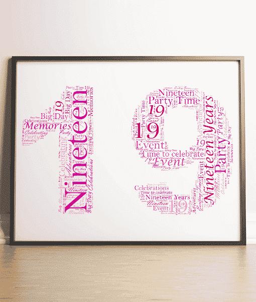 Personalised 19th Birthday Word Art Gift Birthday Gifts
