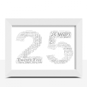 25th Birthday – Silver Anniversary Word Art Gift Anniversary Gifts