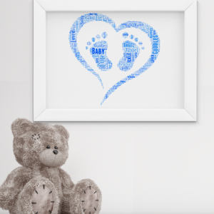 Personalised Footprint Word Art – New Baby Gift Baby Shower Gifts