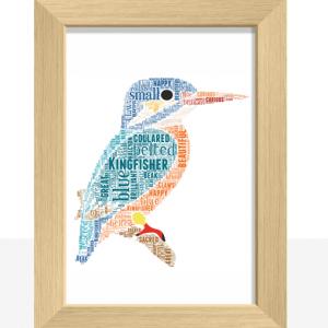 Personalised Kingfisher Word Art Print Animal Prints