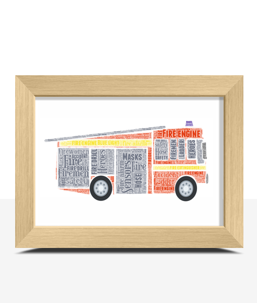 Personalised Fire Engine Word Art Print Gifts For Children