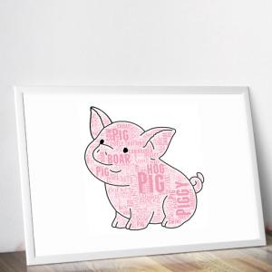 Cute Pig Word Art Print Animal Prints