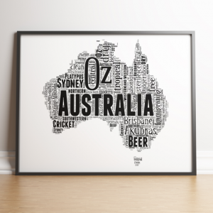 Australia Map Word Art Print Travel