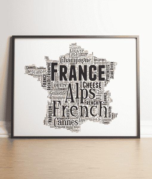 France Map Word Art Print Travel