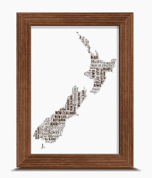 New Zealand Map Word Art Print Travel