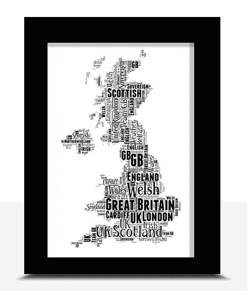 Personalised UK Map Word Art Print Travel