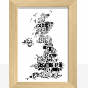 Personalised UK Map Word Art Print Travel