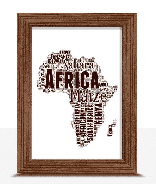 Personalised Africa Map Word Art Print Travel